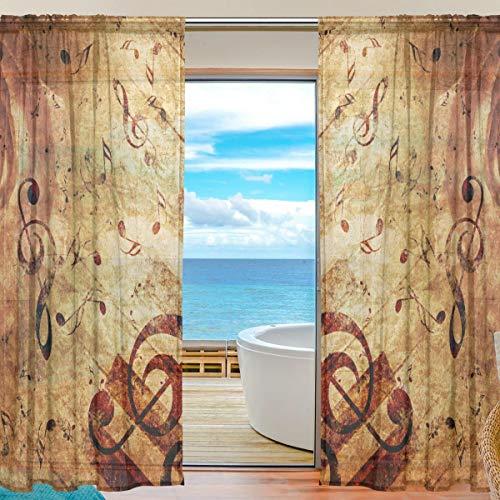 NaiiaN Gardine Rose Music Note 55x78 Zoll, 2 Platten Gitarre Voile Tüll Fenster Vorhang für Schlafzimmer Wohnzimmer Wohnkultur