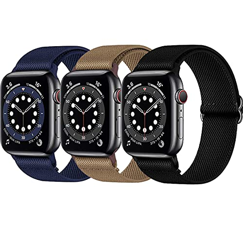 Stretchy Nylon Solo Loop Bands Compatible with Apple Watch 38mm 40mm 42mm 44mm, [3 Pack]-Women Men Adjustable Stretch Braided Sport Elastics Strap Compatible with iWatch Series 6/5/4/3/2/1 SE (Black/Midnight Blue/Brown, 42mm 44mm)