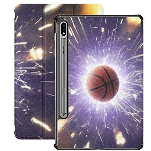 Funda Galaxy Tablet S7 Plus de 12,4 Pulgadas 2020 con Soporte para bolígrafo S, Fondo de Pelota de Baloncesto Fiery Sparks Action Funda Protectora Delgada con Soporte para Samsung