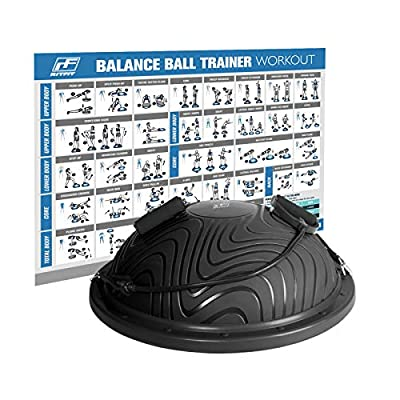 RitFit Balance Ball Trainer for Yoga,Fitness,Strength Exercise with Air Pump, Resistance Bands and Free Exercise Wall Chart (Black Wave Pattern)