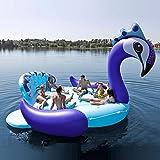 Piscina Inflable flotador 6 Persona Inflable Gigante Pavo Real Piscina Flotador Isla Piscina Lago Fiesta En La Playa Barco Flotante Adulto Juguetes Para El Agua Colchones De Aire Blue-540*470cm
