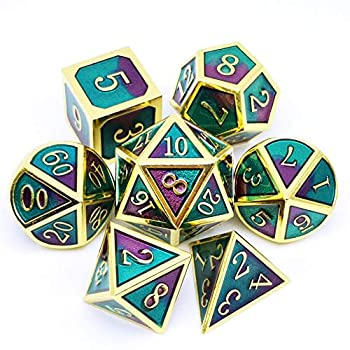 Haxtec Purple Teal Metal Dice Set D&D Gold Metal DND Dice for Dungeons and Dragons RPG Games