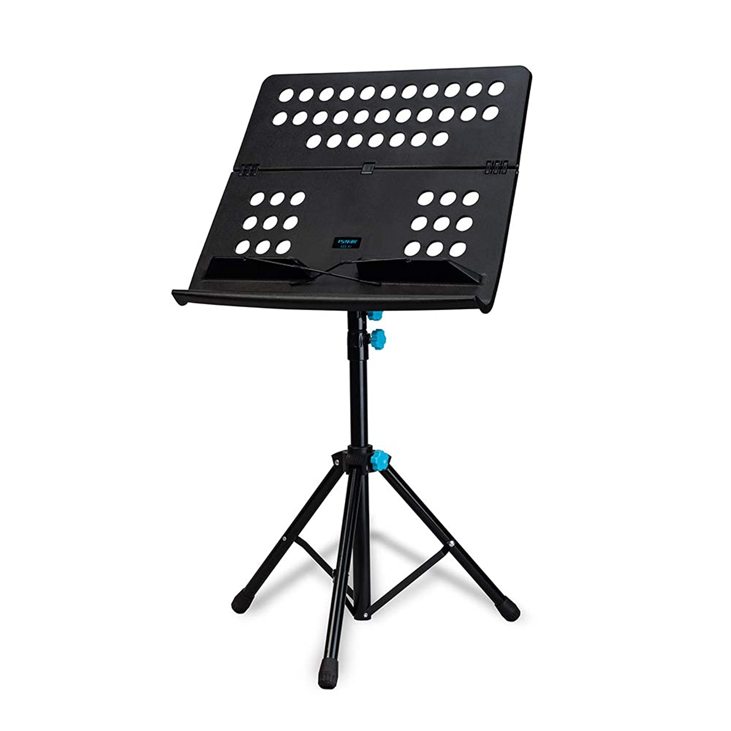 Folding Portable Sheet Music Stand Shelf Kit 3-Level Adjustable Height with Carry Bag Black