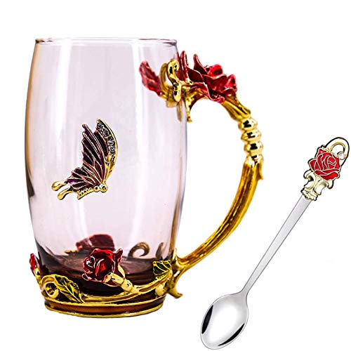 Tea Cup, Mothers Day Gifts, Coffee Mug, Clear Glass Cups with Spoon Set, Lead Free Handmade Butterfly, Unique Rose Flower Enamel Design, Birthday Decoration Wedding Gift Ideas (Red Tall)