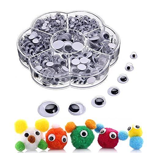 700 Piezas Ojos Móviles Plástico, Autoadhesivo Ojos, Adhesivos Ojos de Plástico, Ojos de Autoadhesivos, Diferentes tamaños Ojos Autoadhesivos, para Manualidades de Scrapbooking Accesorios