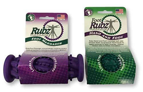Due North Foot Rubz Combo Pack, Original Foot Rubz & Foot Massage Roller, 0.6 lb, Multi Colored, 2...