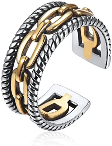 Retro 925 Sterling Silver Knuckle Ring Oxidized Ring Open Adjustable Cuban Link Chain Ring Band product image