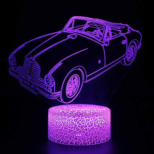 Lámpara LED 3D Ilusión de la Luz de la Noche del Coche 4 16 Colores Cambio Automático Interruptor Táctil Escritorio Decoración Lámparas Regalo de Cumpleaños