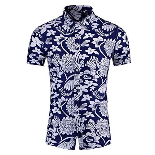 Yowablo Shirt Tops Herren Freizeit Digital Print Stitching T-Shirt Bluse (XXL,6Blau)