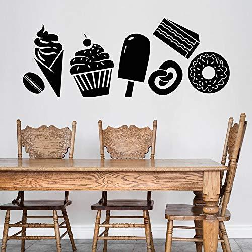 Tienda de postres Calcomanía de pared Dulces Postre Helado Pastel Donut Grano de café Refrigerador Etiqueta de la ventana Café Interior Art Deco Etiqueta de la pared A8 57x146cm
