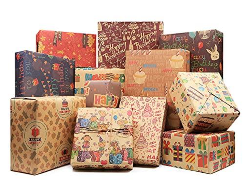 Alles Gute zum Geburtstag Geschenkpapier, Brown Kraft Recycling Geschenkverpackung für Kinder Frauen Frauen Mädchen Männer Babys Jungen, 12 gefaltete 70 * 50 cm mit Juteseilen Bowknot und Aufkleber