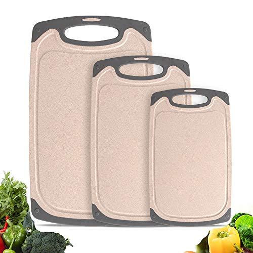 Chopping Board Set for Kitchen,Haomacro Kitchen Accessories Cutting Board BPA Free Non Slip Juice Grooves Dishwasher Safe Non Porous Set of 3 Cutting Boards Easy Grip Handle Easy To Clean Beige