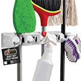 Gorilla Grip Mop and Broom Holder, Easy Install Wall Mount Storage Rack, Organize Cleaning Supplies, Garden Tools, Organizer for Home Kitchen, Garage Closet, Pantry Laundry Room, 5 Slot 6 Hooks, White