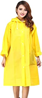 Adult Raincoat Translucent Scrub Thickening EVA Raincoat Non-Disposable Outdoor Travel Adult Raincoat Fashion Men and Women Travel Tool,Yellow
