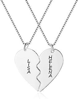 Collana Amicizia per 2 Personalizzato Collana con Nome Cuore Puzzle Ciondolo BFF Collana in Argento per Donna Migliore Ami...