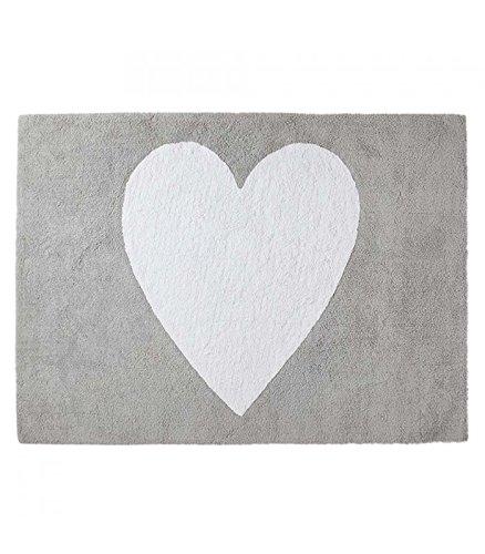 Happy Decor Kids hdk-115 Tapis lavable Big Heart, gris, 120 x 160 cm