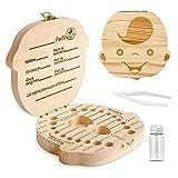 Caja para guardar dientes para niños y niñas, Regalo para niños en madera de souvenir, Acumulación de dientes (1pc Caja para guardar dientes + 1PCpinzas + 1PC tarro) (Niño)