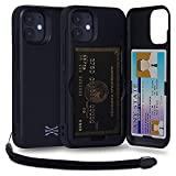 TORU CX PRO iPhone 12 Mini ケース カード 収納背面 3枚 カード入れ カバ― (ストラップ, ミラー 含ま) - アイフォン12 Mini 用 - ブラック