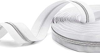 Nylon Coil Zippers 5#- Sewing Zippers Bulk Silver Metallic Teeth- VOC DIY Zipper by The Yard White with 20PCS Slider-Long ...