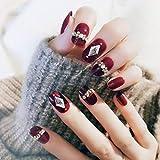 Yean Unghie finte ovali con cristalli decorati Stampa su unghie Unghie finte Coperchio completo Punta per unghie riutilizzabile in acrilico rosso per donna