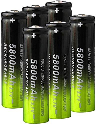 3.7V 5800mAh 18650 Batería de Carga de Litio baterías Recargables Li Ion Cell para Linterna 6pcs