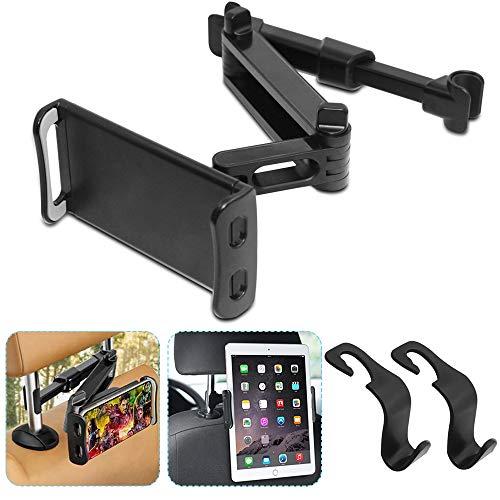 AFUNTA Auto Kopfstützenhalterung mit 2 Haken, Universal Auto Sitz Rückenlehne Klappbar Telefonhalter Ständer 360 Grad Drehbar Verstellbar für alle 4-10 Zoll Tablet iPad Smartphone - Schwarz