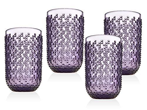 Godinger Highball Glasses Beverage Glass Cups - Alba, Amethyst - Set of 4