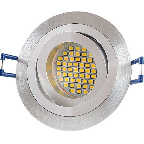 12X Lu de mi Foco LED GU103W SMD blanco cálido 230VAluminio Plata Cepillado/redondo (sd1046) Marco de montaje con portalámparas GU10.