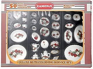 Zamonji 50 Pieces Dollhouse Dining Service Set - Straberry Pattern Gold Grim