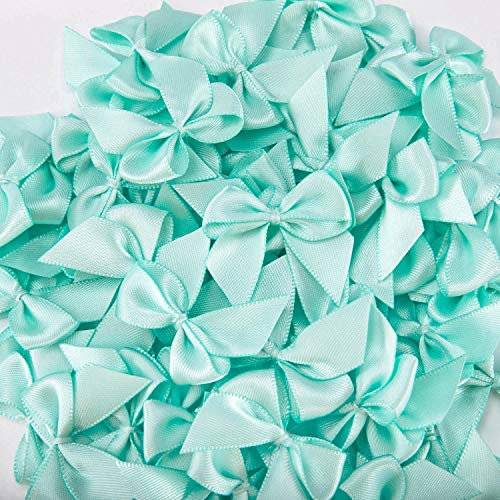 Humphrey's Craft 70pcs Size 1.5 Inch Tiffany Blue Mini Satin Ribbon Bows Flowers for DIY Crafts Baby Shower Crafts Decoration Hair Accessories Bottles Scrapbooking Cupcakes