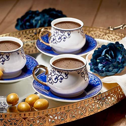 Derya Home Royal Queen New Bone Prestige - Juego de tazas de café turcas para 6 personas