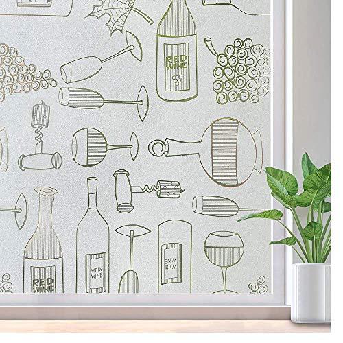 Pellicola statica per vetri, modello di bottiglia di vino PVC decorazione della casa protezione solare protezione della privacy adesivo in vetro impermeabile J 40x100cm
