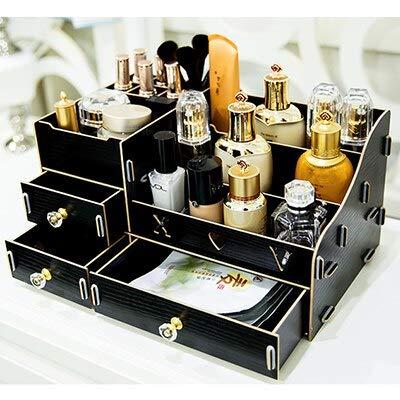 ADSIKOOJF multifunctionele houten bureaublad opbergdoos make-up organisator case cosmetische opbergdoos DIY grote make-up organizer lades