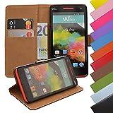 EximMobile - Book Case Handyhülle für Wiko Sunset 2 mit Kartenfächer | Schutzhülle aus Kunstleder | Handytasche als Flip Case | Cover in Schwarz | Handy Tasche | Etui Hülle Kunstledertasche