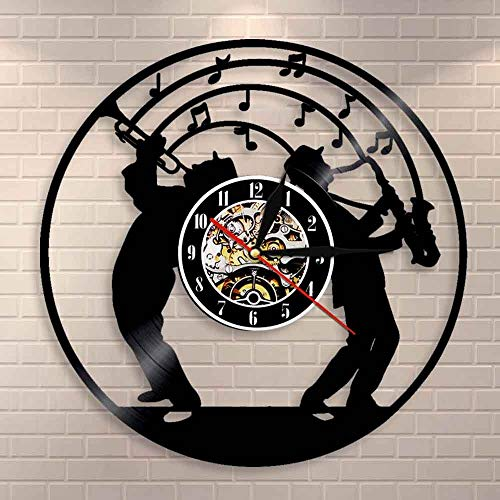 wtnhz LED Colorful vinyl wall clock Saxophone music theme vinyl record wall clock mute movement wall clock jazz music studio room wall hanging decoration musician gift