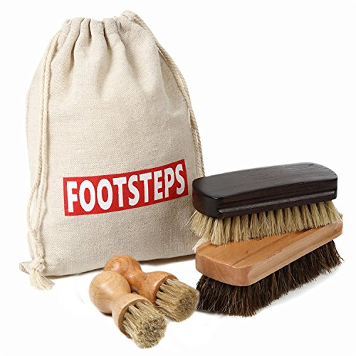 [FOOTSTEPS] 靴磨きセット 靴磨き ブラシ セット 馬毛ブラシ 豚毛ブラシ ペネトレイトブラシ 2本 セット