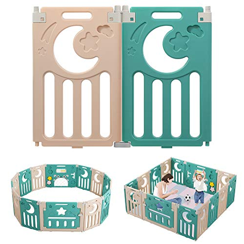 Dripex Parque para Bebés 2 paneles, Solo para Dripex Corralito Bebe, Centro de Actividades para Niños, Patio de Juegos de Seguridad Hogar Interior Exterior de 0 a 6 Años, Plegable, Marrón-verde