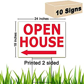 10 Open House Signs 18x24 & Double H Stakes 10x30