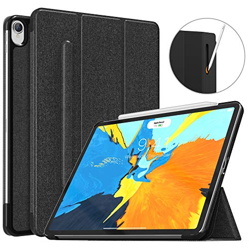 MoKo Case Fit iPad Pro 11' 2018 with Elastic Pencil Holder - [Support Pencil 2 Charging] Slim Lightweight Smart Shell Stand Cover Case with Auto Wake/Sleep for iPad Pro 11 Inch - Black
