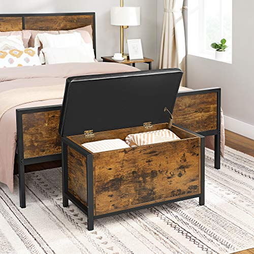 VASAGLE Entryway Storage Bench, Flip Top Storage Ottoman and Trunk with Padded Seat, Bed End Stool, Hallway Living Room Bedroom, Supports 198 lb, Industrial, Rustic Brown and Black ULSC80BX