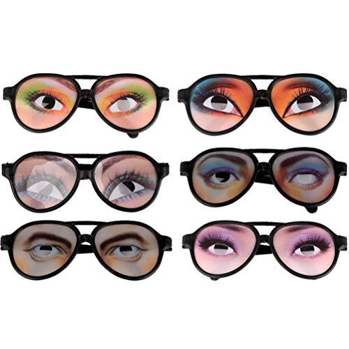 Toyvian Lustige Brille mit Augen Partybrille Spaßbrille Foto Requisiten Scherzartikel für Kinder Erwachsene Geburtstag Halloween Karneval Party Kostüm 6 Stück (zufälliges Muster)