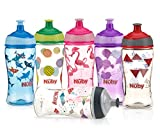 Nuby Printed Kids Pop Up Sipper Water Bottle, Colors May Vary, 1 Pack