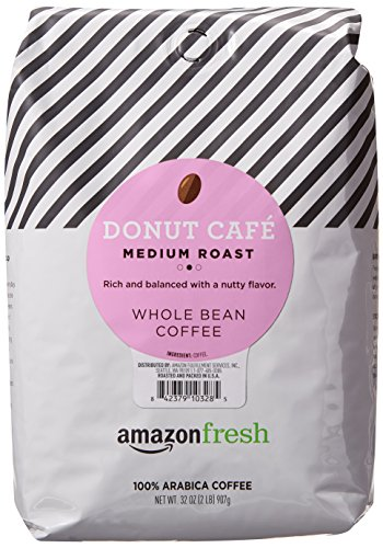 AmazonFresh Donut Cafe Whole Bean Coffee, Medium Roast, 32 Ounce (Pack of 1)