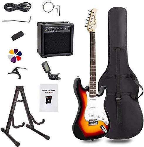 Display4top Kit per Chitarra Elettrica con amplificatore da 20 Watt, supporto per chitarra, borsa, plettro per chitarra, cinturino, corde di ricambio, accordatore, custodia e cavo (Sunburst)