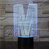 La lettre M 3D lampe de table de chevet mignon enfants cadeau infantile coloré effet de lumière visuelle LED veilleuse lampe de table de chevet acrylique