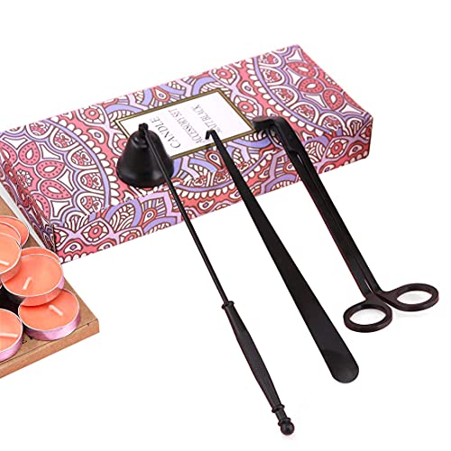 Lingben Candle Accessory Set, 3 in 1 Candle Snuffer,Candle Wick Trimmer Candle Wick Cutter Candle Extinguisher Tools Candle Tools and Candle Wick Dipper with Gift Package for Candle Lover(Black)