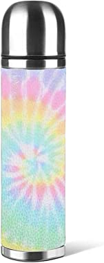 Pastel Tie Dye Water Bottle Stainless Steel Insulated Thermos Metal Resuable Vacuum Bottle With Leather Bottle Holder 16 Oz(5