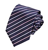 Men Repp Navy Pink Purple Silk Tie Fine Stripe Woven Working Summer Suit Necktie
