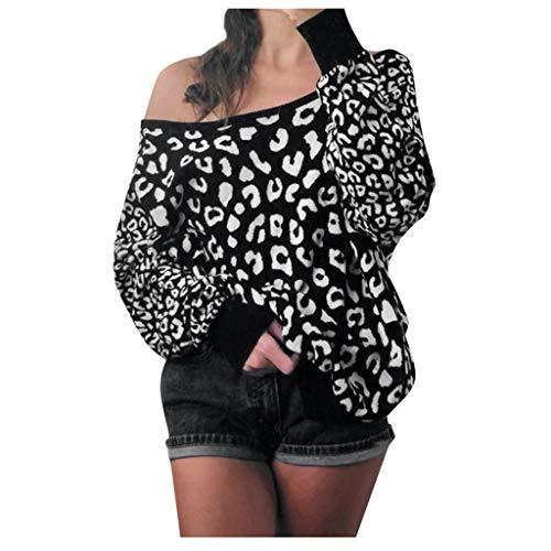 Dasongff sweatshirt voor dames, luipaard pullover off-shoulder, sweatshirt, trui, sexy, lange mouwen, casual blouse