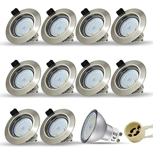 10 Stück Einbaustrahler Set Led GU10 5W 18PCS High Power LEDs Rund fest Einbaurahmen Einbauspots Einbauleuchten Einbaulampen Naturalweiß 4000-4500K 450Lumen Ersetzt 45W